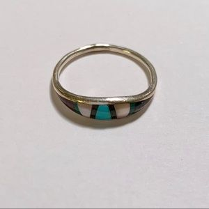 Jewelry - Sterling Silver, Turquoise Stone Inlay Ring Size 5